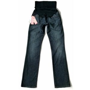 Liz Lange Maternity Jeans Straight Dark Blue Denim